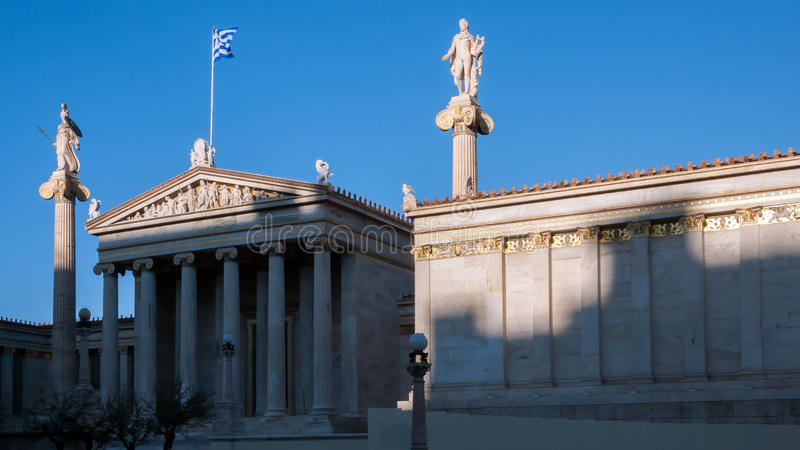 Sunset view of Academy of Athens, Attica stock images