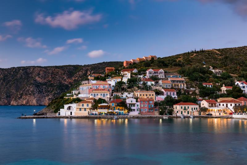 Sunset view of Asos village on the west coast of Kefalonia, Greece, Europe. stock photos