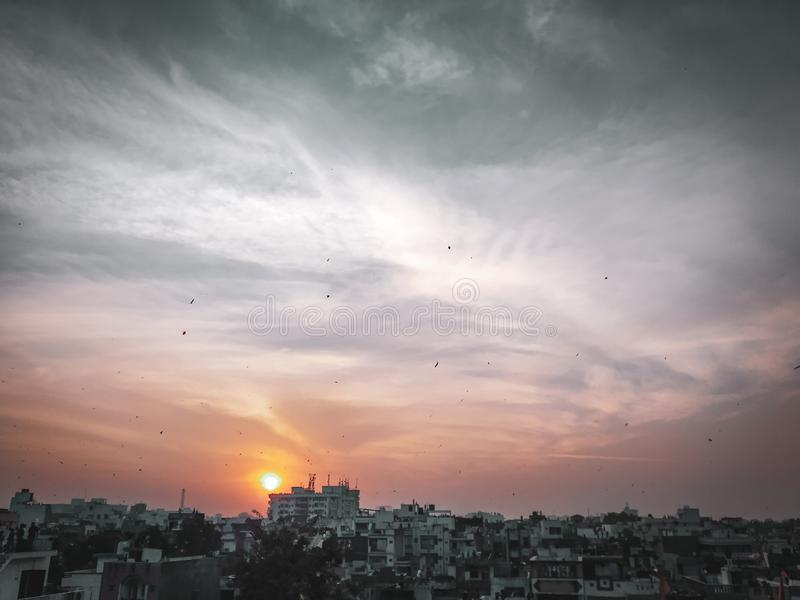 Sunset view of baroda city,gujarat,india. Sunset view baroda  city india royalty free stock photography