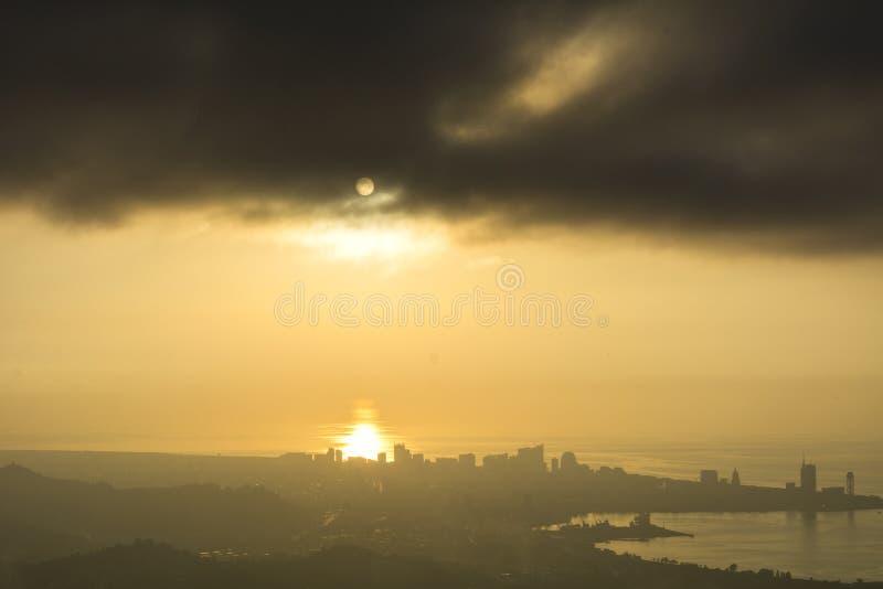 Sunset view of Batumi city stock photo