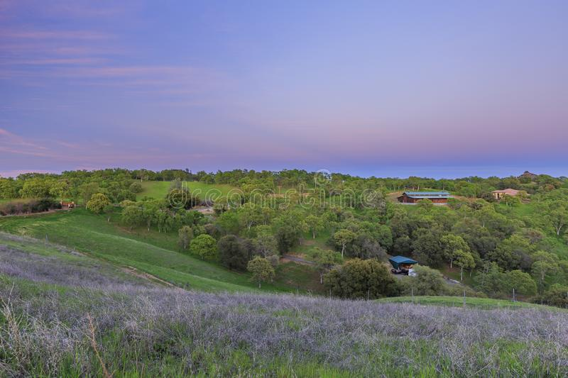 Sunset view of beautiful country side near Sonora stock images