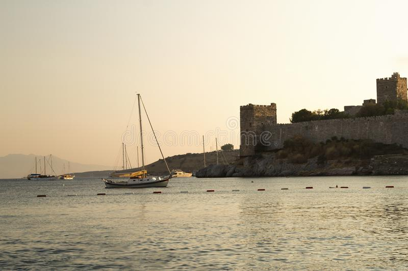 Sunset view from Bodrum castle. / Turkey stock photography
