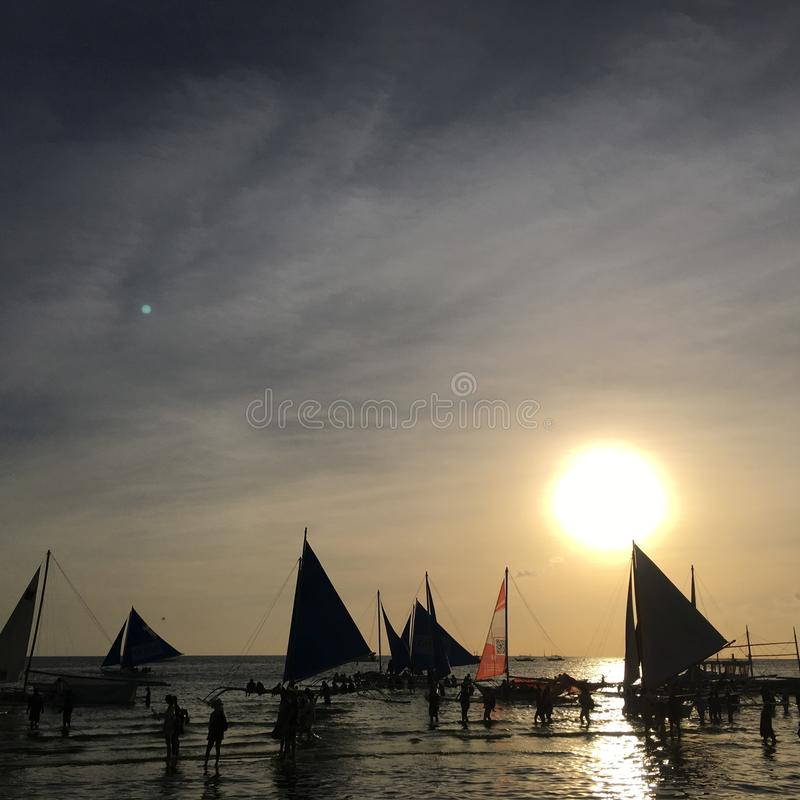 Sunset view from Boracay Island, Aklan, Philippines stock images