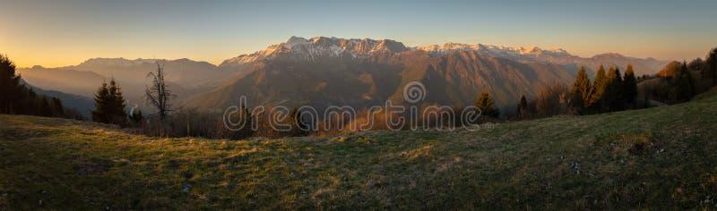Moiuntain range Krn in Triglav National Park in Julian Alps. Sunset view from border road of Slovenia and Italy to moiuntain range Krn in Triglav National Park stock photography