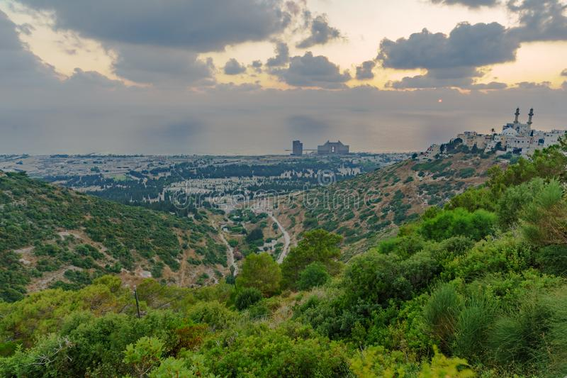 Sunset view Carmel coast, Siach valley and  Mahmud mosque, Haifa. Sunset view of the Carmel coast, Siach valley and the Ahmadiyya Shaykh Mahmud mosque, in Haifa royalty free stock images