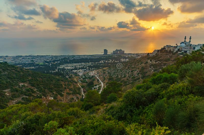 Sunset view Carmel coast, Siach valley and  Mahmud mosque, Haifa. Sunset view of the Carmel coast, Siach valley and the Ahmadiyya Shaykh Mahmud mosque, in Haifa stock photo