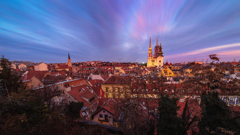 Sunset view of the cathedral in Zagreb, Croatia. stock image