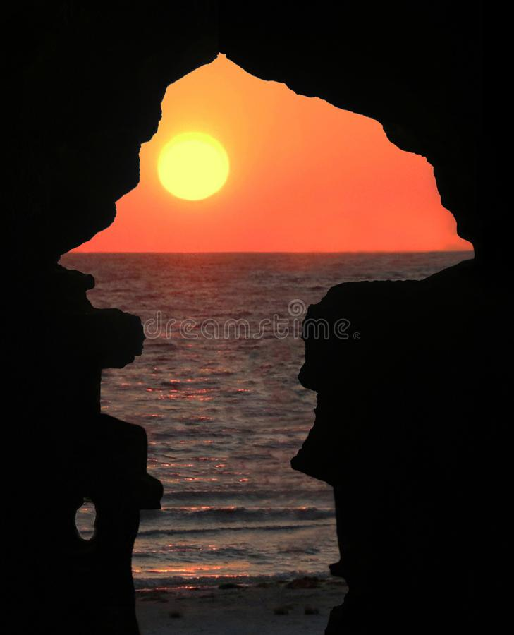 Sunset View From The Caves of Hercules. Caves of Hercules are located in Cape Spartel, near Tangier Morocco.Legend has it that the Roman god Hercules stayed and royalty free stock images