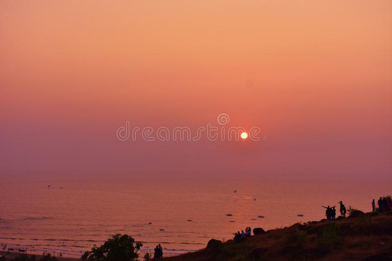 Sunset view from Chapora Fort, Goa royalty free stock images