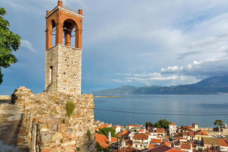 Sunset view of Clock tower in Nafpaktos town, Greece. Sunset view of Clock tower in Nafpaktos town, Western Greece royalty free stock photography
