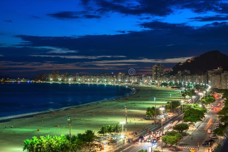 Sunset view of Copacabana beach and Avenida Atlantica in Rio de Janeiro royalty free stock photography