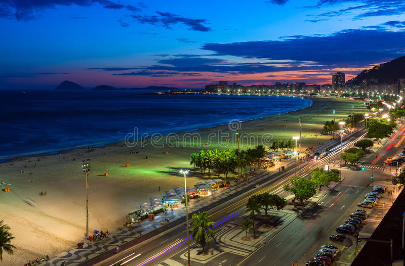 Sunset view of Copacabana beach in Rio de Janeiro, Brazil royalty free stock photos