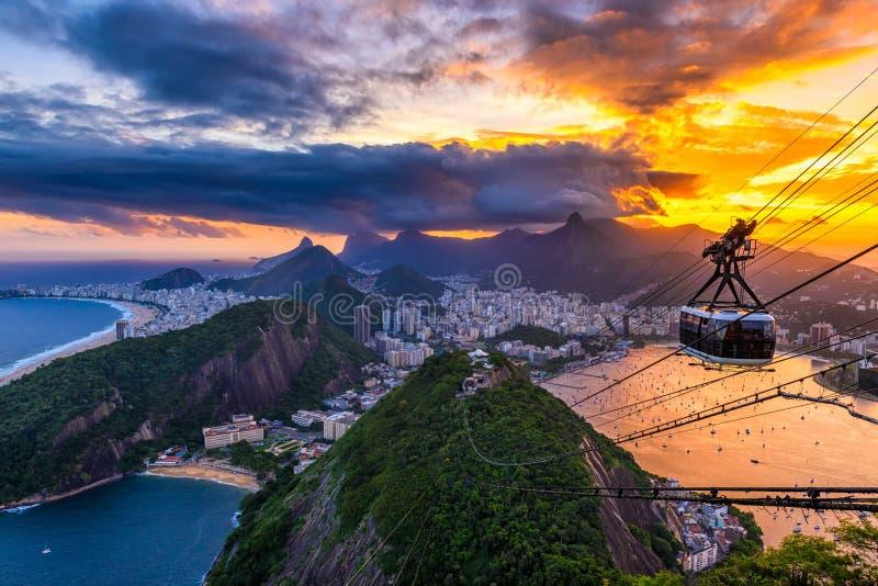 Sunset view of Copacabana, Corcovado, Urca and Botafogo in Rio de Janeiro. stock image