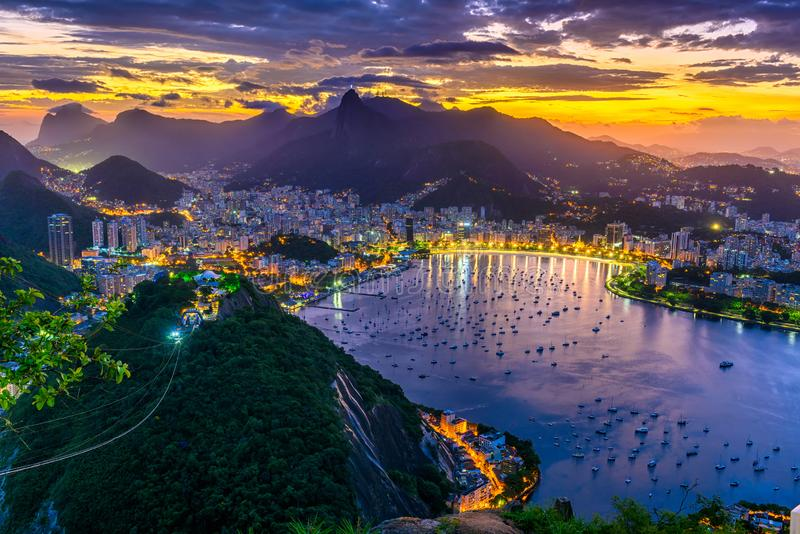 Sunset view of Corcovado, Botafogo and Guanabara bay in Rio de Janeiro. Brazil royalty free stock photography
