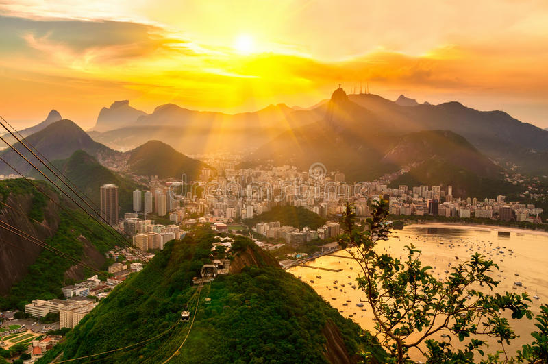 Sunset view of Corcovado and Botafogo in Rio de Janeiro stock image