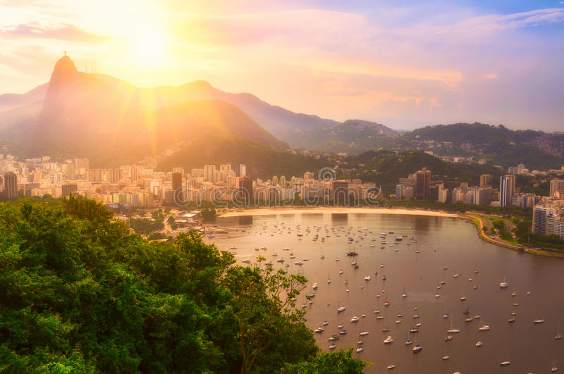 Sunset view of Corcovado and Botafogo in Rio de Janeiro royalty free stock image