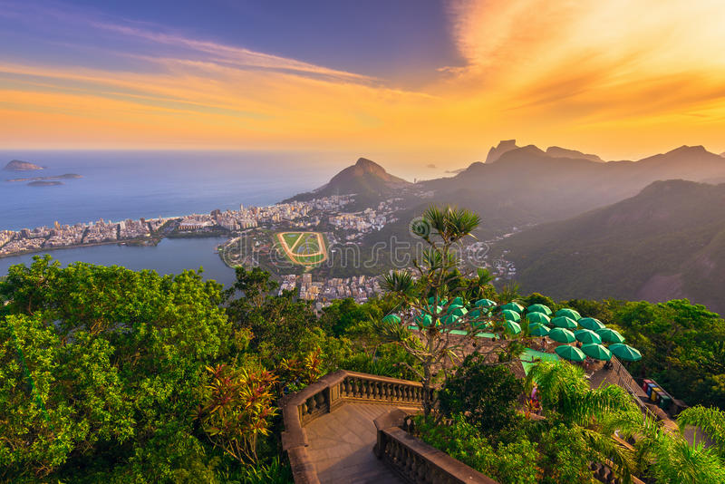 Sunset view from Corcovado of Lagoa Rodrigo de Freitas, Ipanema and Leblon in Rio de Janeiro stock image