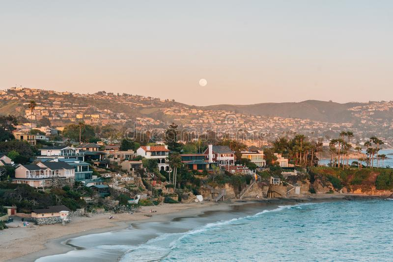 Sunset view of Crescent Bay in Laguna Beach, Orange County, California stock photos