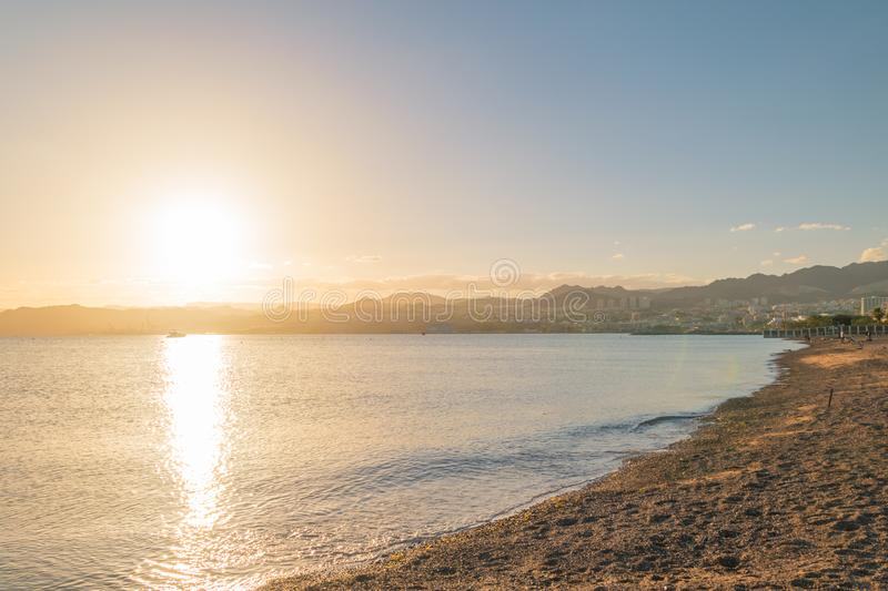 Sunset view of Eilat resort in Israel.  royalty free stock photo