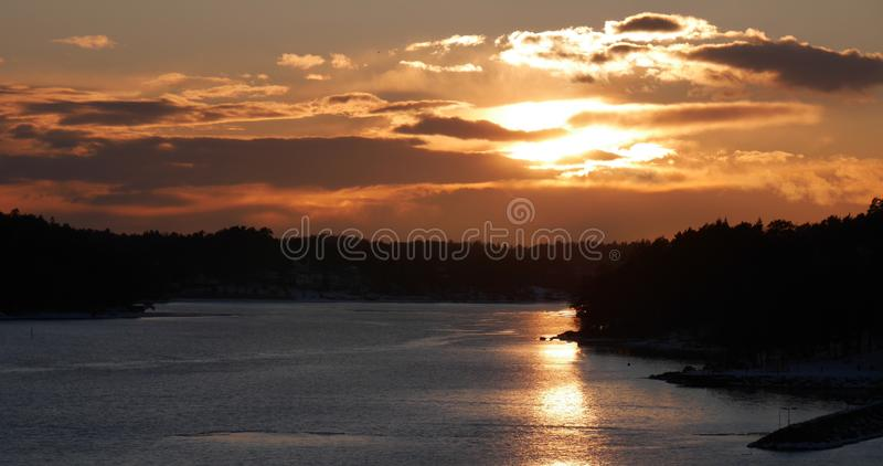 Sunset in Sweden royalty free stock photography