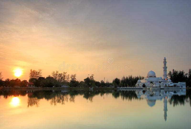 Sunset view of floating mosque royalty free stock images