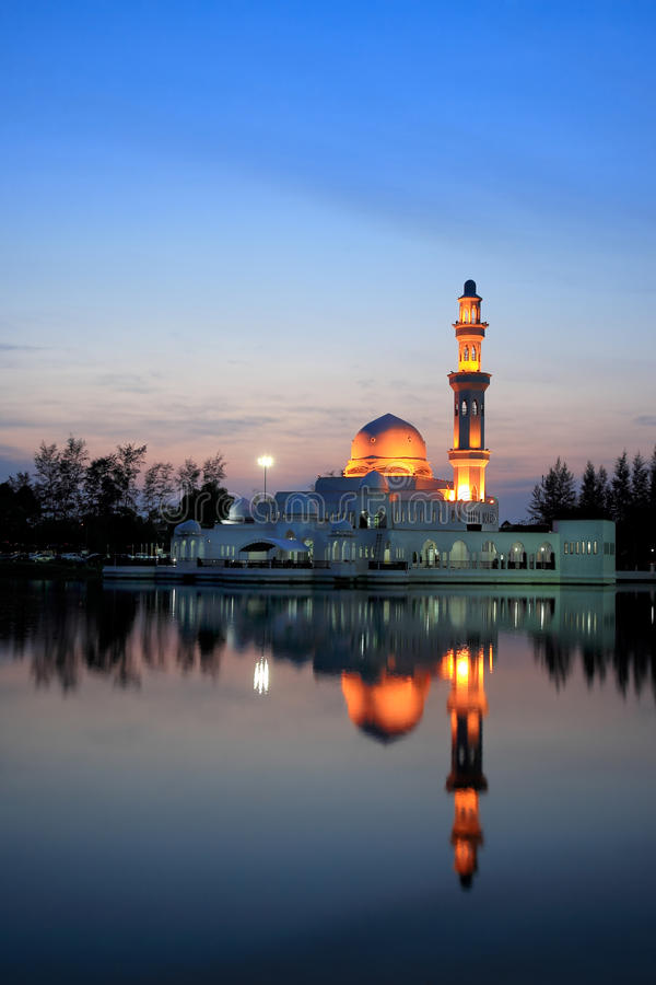 Sunset view of floating mosque stock image