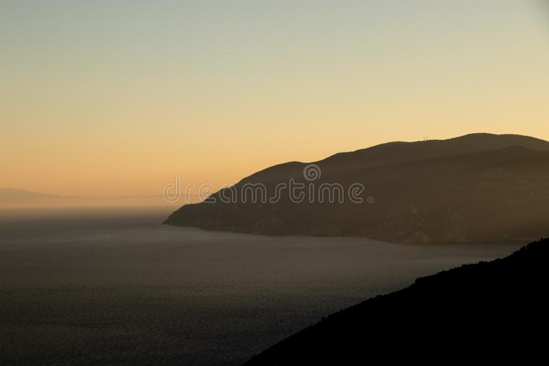 Sunset View at the Greek Island of Alonissos int the Aegean Sea, the Norhern Sporades.  royalty free stock image