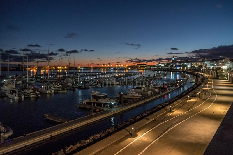 After sunset view at harbor of ponta delgada stock photo