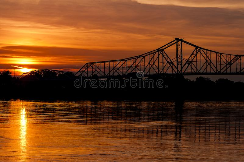 Sunset View of Historic Ironton-Russell Bridge - Ohio River - Ohio. A scenic view of the historic Ironton-Russell Bridge that spanned the Ohio River between royalty free stock photos