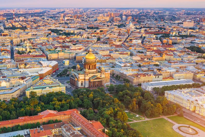 Sunset view of the historical center of St. Petersburg, St. Isaac`s Cathedral and the Bronze Horseman Peter 1 stock photography