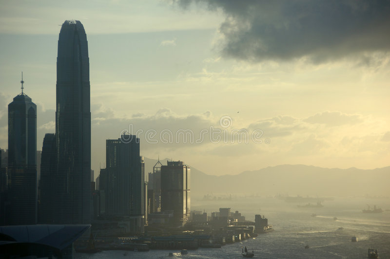 Sunset view on Hong Kong stock image