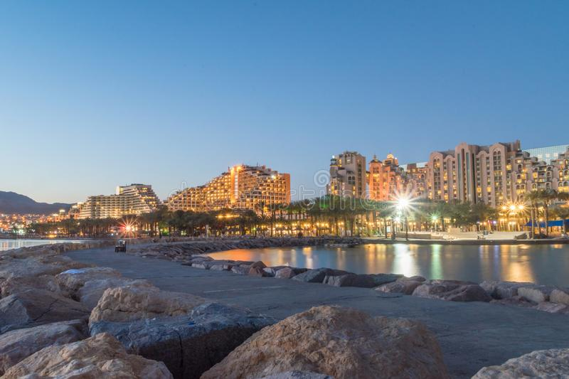Sunset view of hotels in israeli resort Eilat, Israel.  royalty free stock image