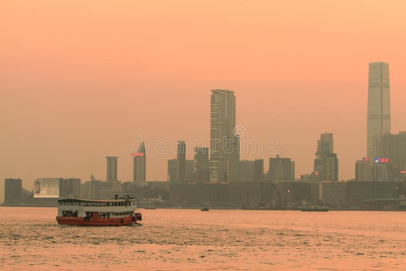 a sunset view from kowloon side at kwun tong stock photography