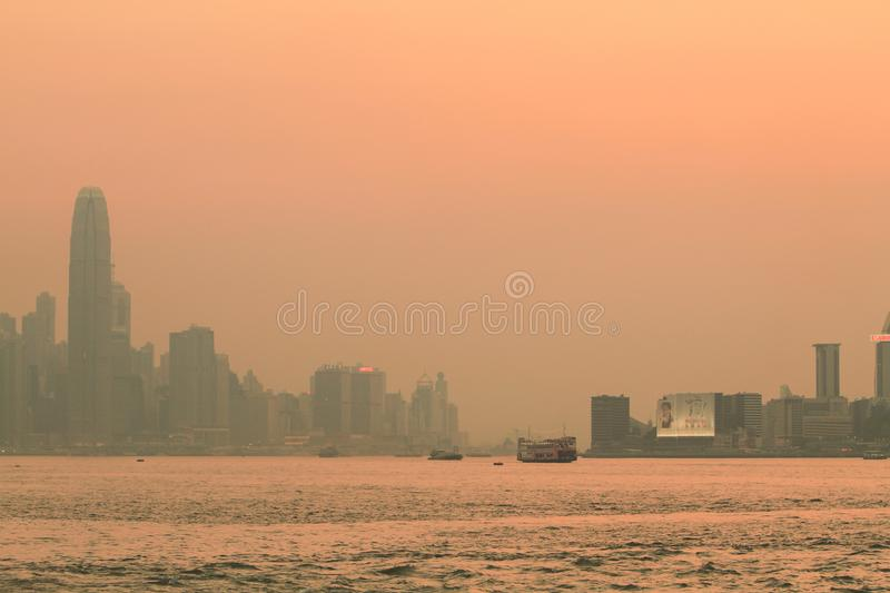 a sunset view from kowloon side at kwun tong royalty free stock photography