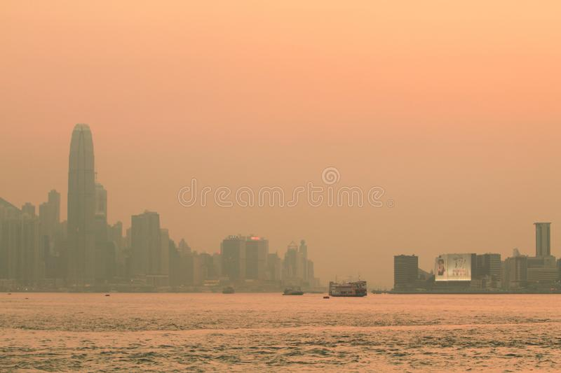 a sunset view from kowloon side at kwun tong royalty free stock photo