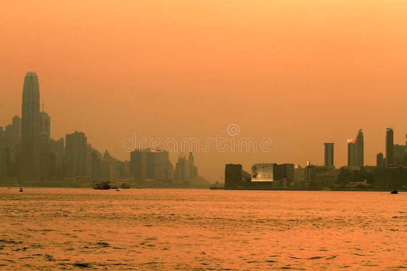 a sunset view from kowloon side at kwun tong royalty free stock images