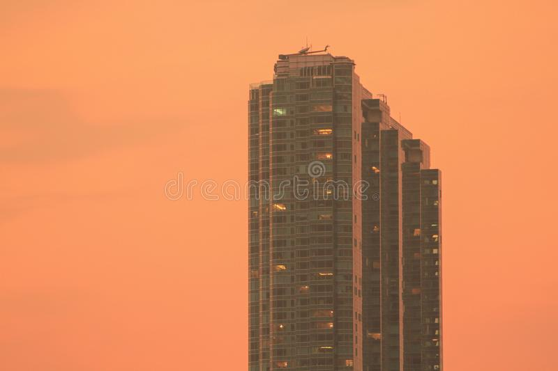 a sunset view from kowloon side at kwun tong stock images