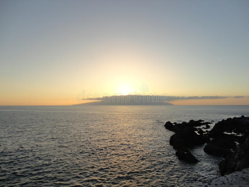 Sunset view of La Gomera island stock images
