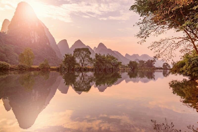 Sunset view of Li River. Yangshuo. Guangxi Province. stock photo