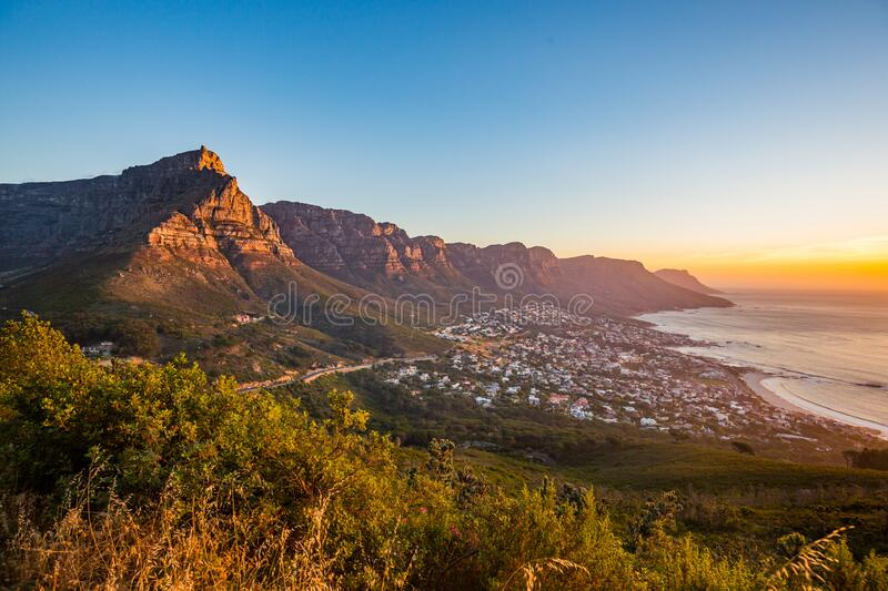 Sunset view from the lionshead mountain in south africa stock image