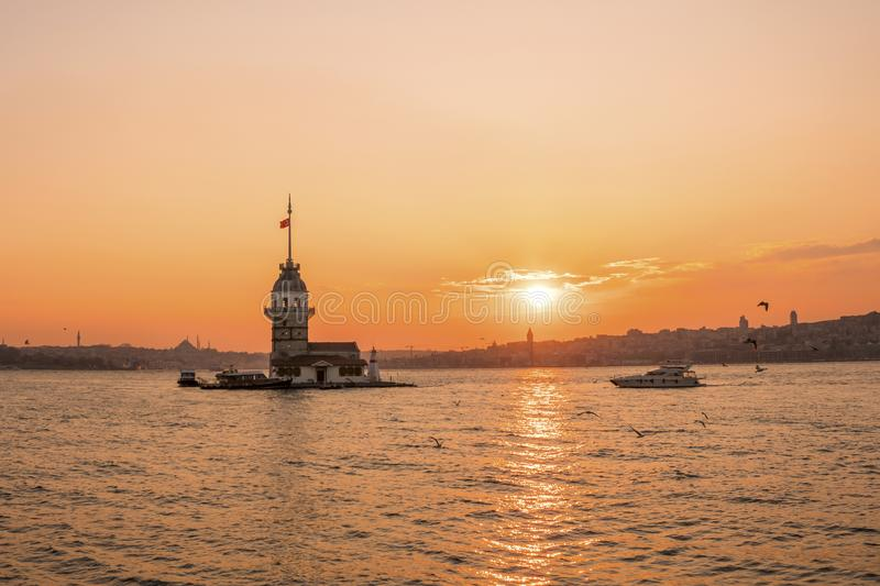Sunset view of Maiden TowerKiz kulesi in Bosphorus ,Istanbul Turkey.  stock photos