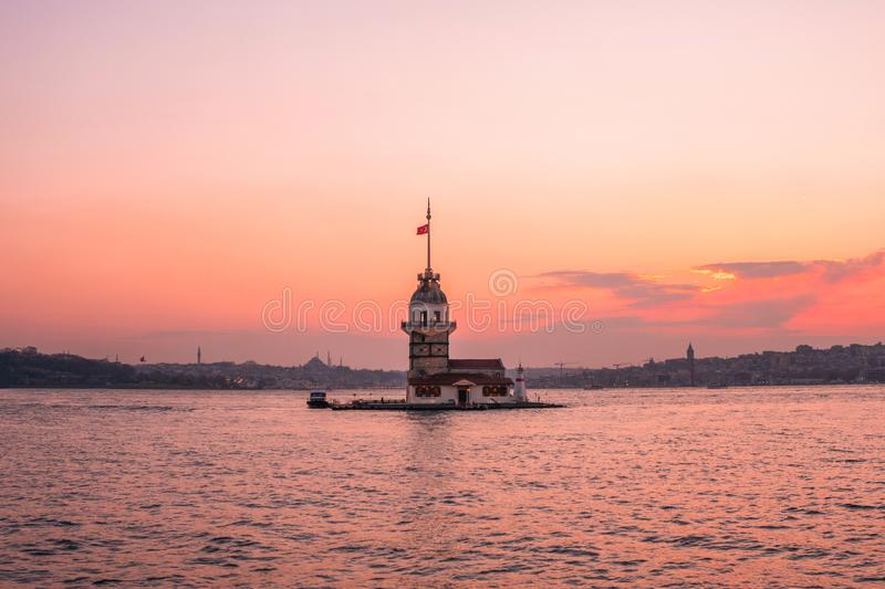 Sunset view of Maiden TowerKiz kulesi in Bosphorus ,Istanbul Turkey.  stock photo