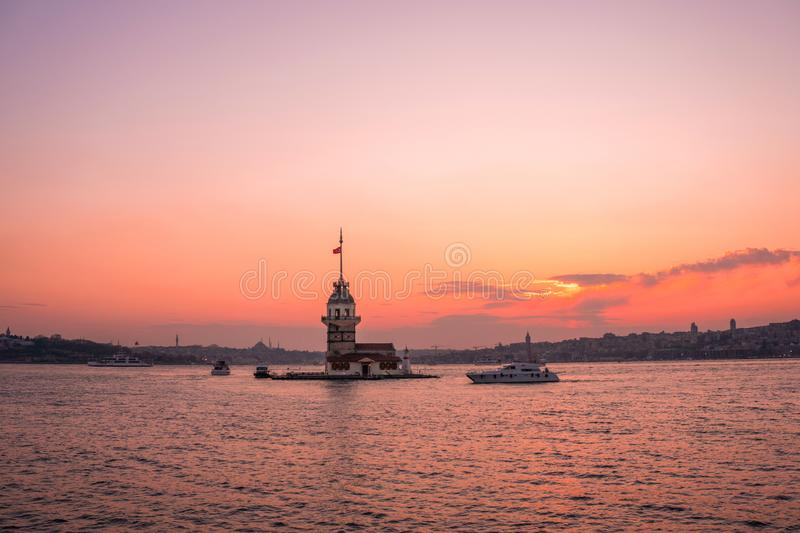Sunset view of Maiden TowerKiz kulesi in Bosphorus ,Istanbul Turkey.  stock image