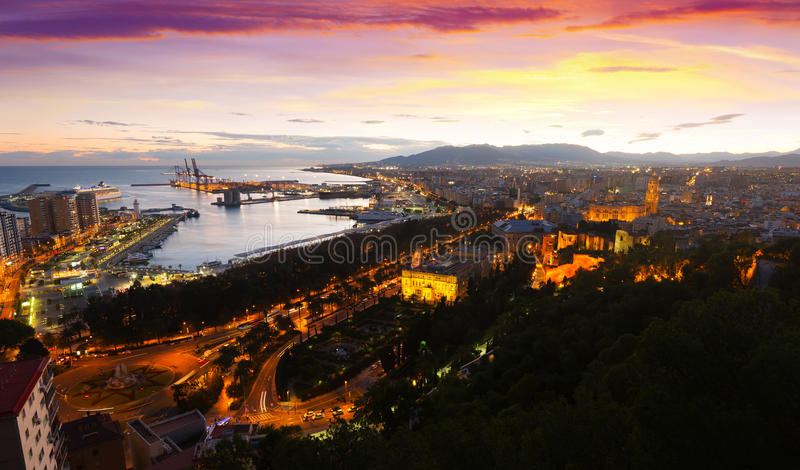 Sunset view of Malaga with Port stock photo