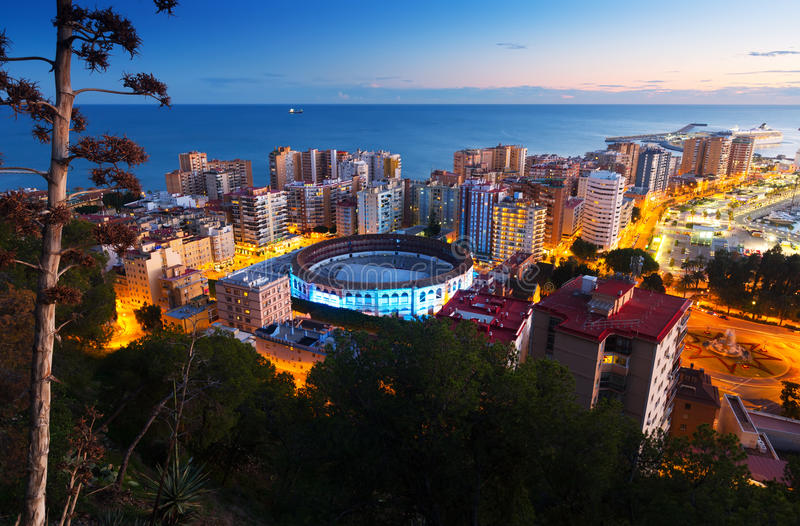 Sunset view of Malaga stock images