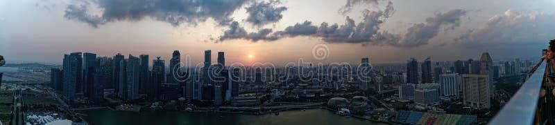 Sunset - View from Marina Bay Sands, Ce La Vi Sky Bar. Singapore stock photos