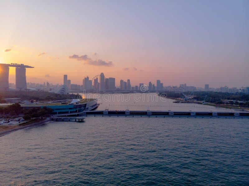 Sunset view at Marina Bay royalty free stock photos
