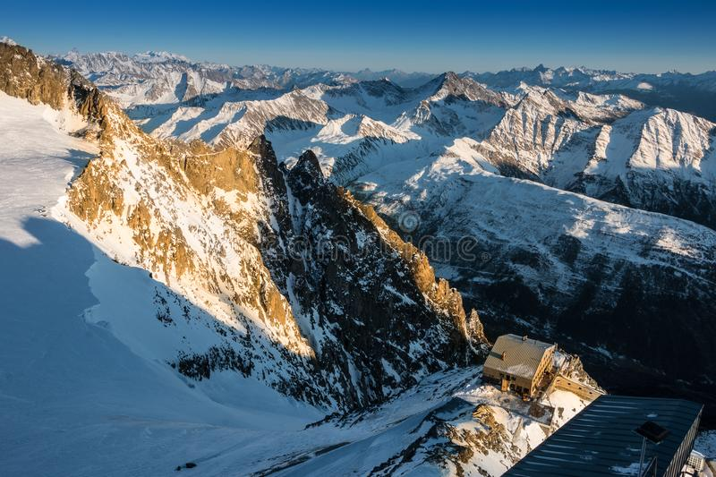 Sunset view from the Mont Blanc top. Taken at the top of the new Skyway Cablecar gondola from Courmayeur, Italy stock photography