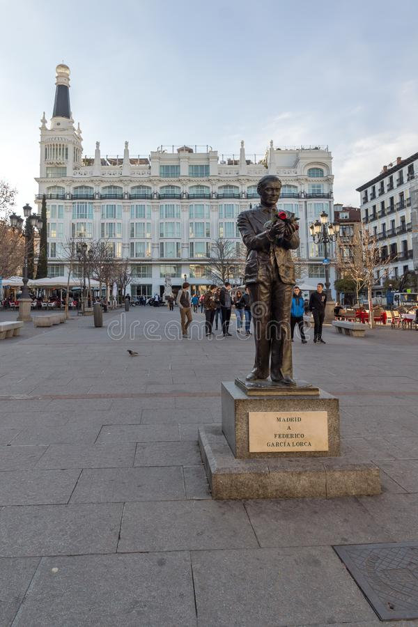 Sunset view of Monument of Federico Garcia Lorca at Plaza Santa Ana in City of Madrid, Spain. MADRID, SPAIN - JANUARY 23, 2018: Sunset view of Monument of stock image