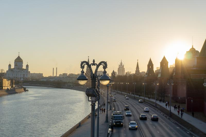 Sunset view of Moscow Kremlin and Moscow River in Moscow, , Moscow cityscape royalty free stock photography